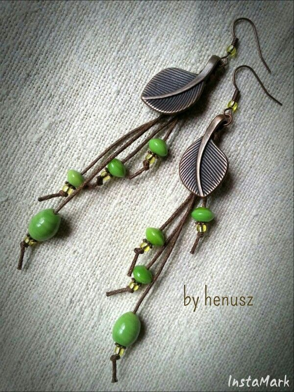 Cooper leaf with porcelain beads