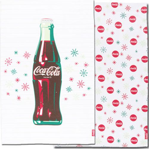 Stars And Snowflakes Coca Cola Bottle Dish Towel Pair