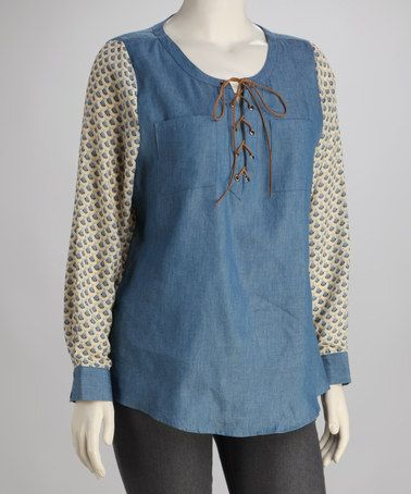 Take a look at this Denim Lace-Up Plus-Size Top by UMGEE U.S.A. on #zulily today!