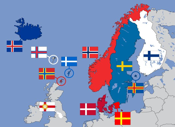 Nordic flags used in Northern Europe  From left to right Top row: Iceland, Faroe Islands, Orkney, Shetland, Norway, Sweden, Åland, Finland; Bottom row: Yorkshire West Riding, Denmark, Skåne.