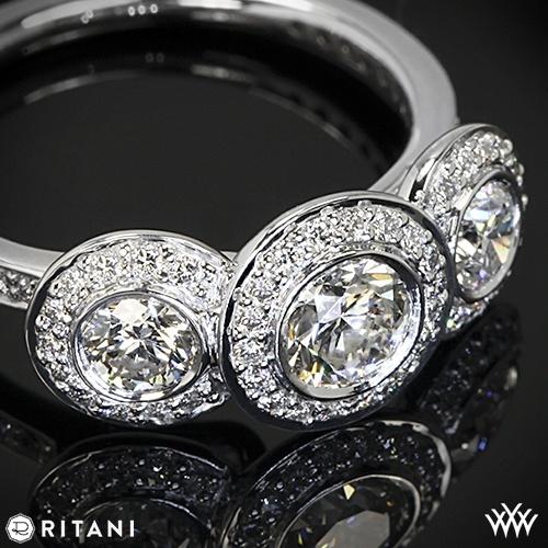 Platinum Ritani 1RZ1702 Halo Diamond Three Stone Engagement Ring