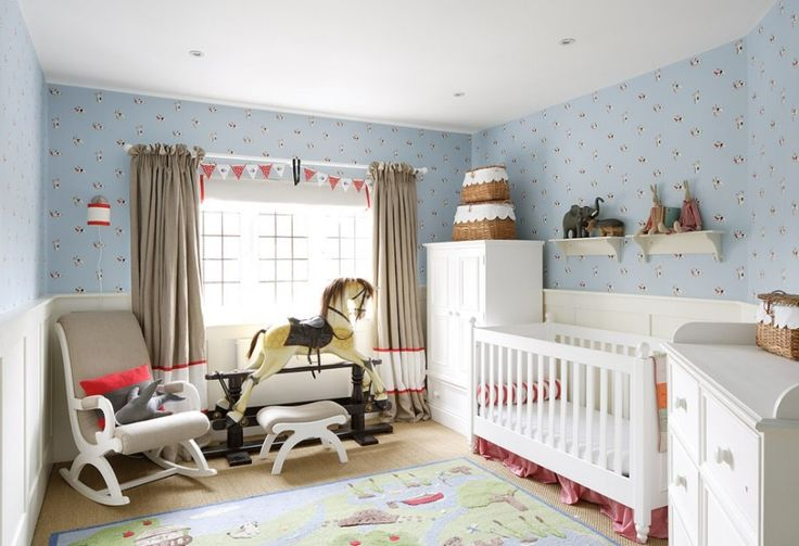 Baby Nursery. Mesmerizing Baby Room Design Ideas: Marvellous Large Design Baby Bedroom Decorating Ideas With Grey Curtains Rocking Horse Toy Nice Blue Pattern Wallpaper ~ wegli