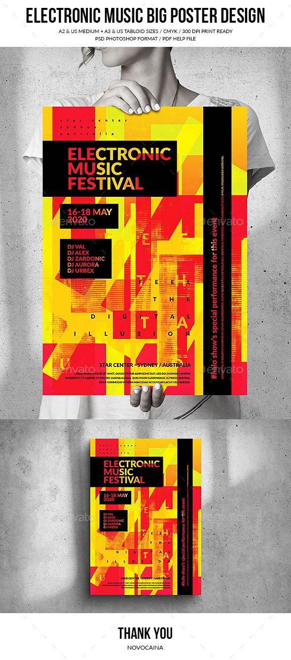 Electronic Music Festival Big Poster Design In 2020 Electronic Music Festival Electronic Music Electronic Music Poster