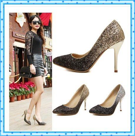 Ботинки платья женщин ladies свадебные каблуки женщина острым носом высокие каблуки блеск женской обуви насосы золотые туфли серебро насосы C852