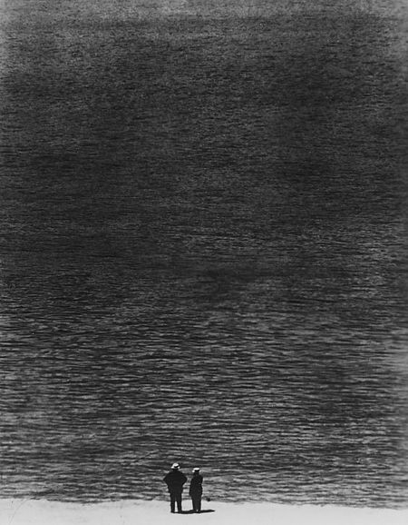 Look at that negative space. Ralph Steiner. Two Men and the Ocean, 1921