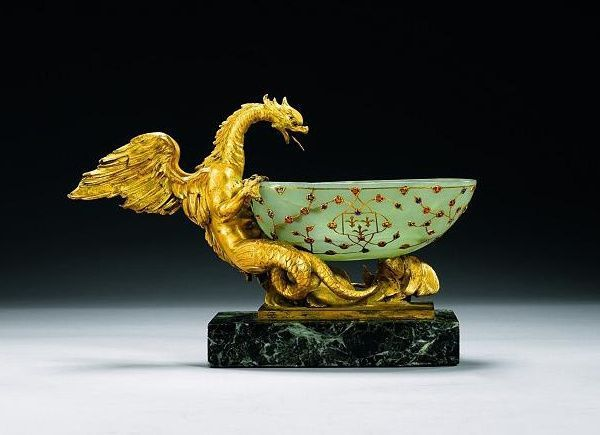 17th-century Mughal jade drinking cup at Sotheby's auction house in London. The drinking cup is one of only three comparable jade bowls in existence and is expected to sell at auction for between $316,965 and $475,532
