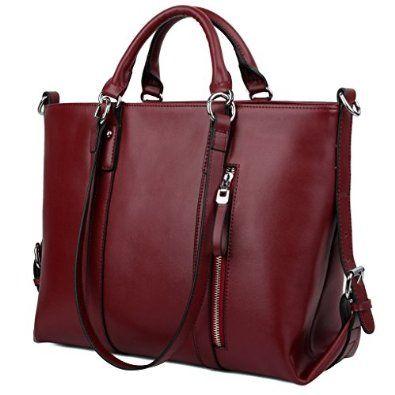 YALUXE Women's Urban Style 3-Way Leather Work Tote Shoulder Bag Red: Handbags: Amazon.com