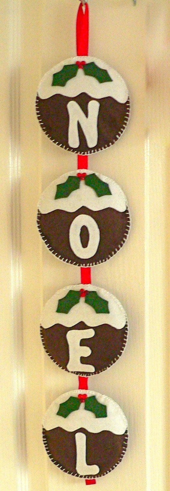 This gorgeous felt Christmas pudding NOEL decoration is hand stitched by me.  It is made with acrylic felt and is handstitched with love. It is
