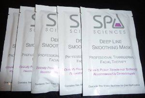 Spa Sciences Deep Line Smoothing Mask Professional Transdermal Facial Therapy 5x Applications by Spa Sciences. $8.00. Professional Transdermal Therapy.. Clinically Proven Transdermal Technology and Recommended by Dermatologists.. Each Packet Contains Two Sheet Sections for One Application.. Deeply Penetrating Transdermal Delivery System Helps Accelerate Delivery of Gatuline Expression, a Plant Based Active that Helps Reduce the Visible Appearance of Deep Line Wrinkles...