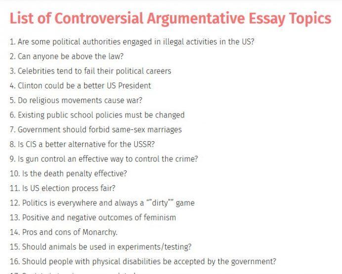 Controversial Argumentative Essay Topics Essay Topics Argumentative Essay Argumentative Essay Topics