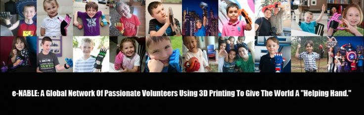 e-NABLE: A Global Network of Volunteers Using 3D Printing to Give the World 'A Helping Hand' http://www.3dmedtechprintingconference.com/medtech/e-nable-a-global-network-of-volunteers-using-3d-printing-to-give-the-world-a-helping-hand/