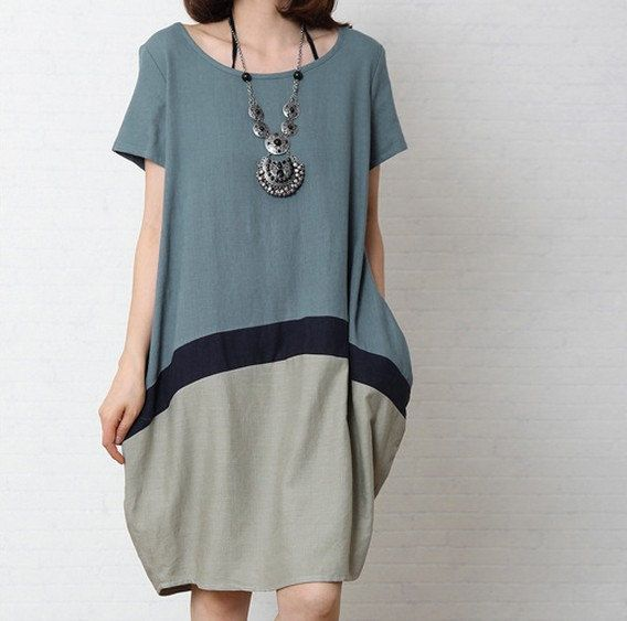 Jeans blue Irregular dress cotton /linen dress short sleeve dress linen /cotton loose dress women dress cotton blouse plus size dress. 214