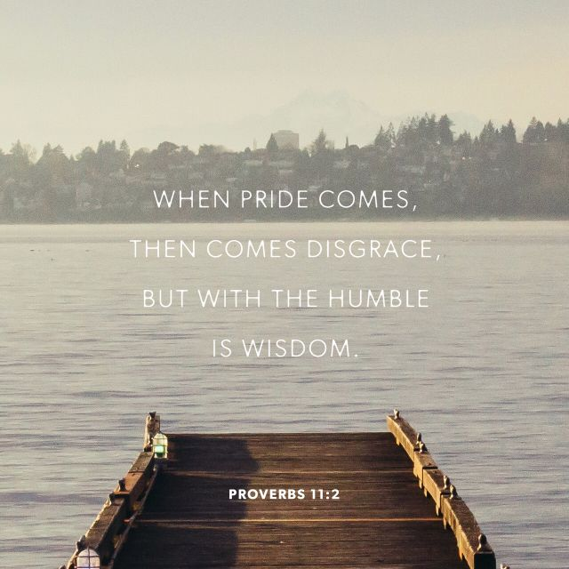"""""""When pride cometh, then cometh shame: but with the lowly is wisdom."""" Proverbs 11:2 KJV http://bible.com/1/pro.11.2.kjv"""