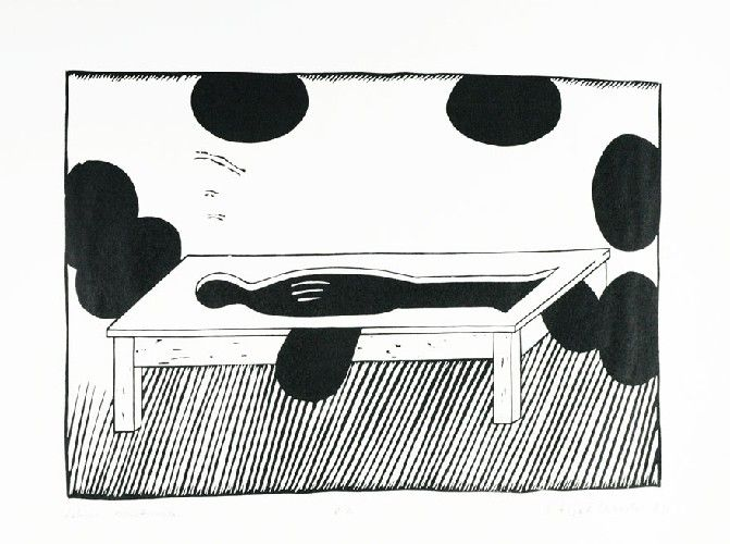 Stanisław FIJAŁKOWSKI (ur. 1922 Lekcja anatomii, 1969 linoryt, papier żeberkowy (Ingres), 49 x 64 cm; opisany u dołu: Lekcja anatomii e.a. S. Fijałkowski 69 (ołówkiem)