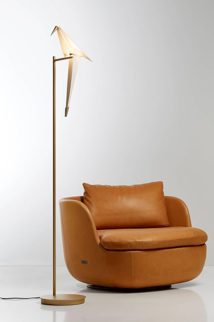 Moooi hang light pendant lamp by marcel wanders stardust - Moooi Perch Led Floor Lamp In Brass With White Bird