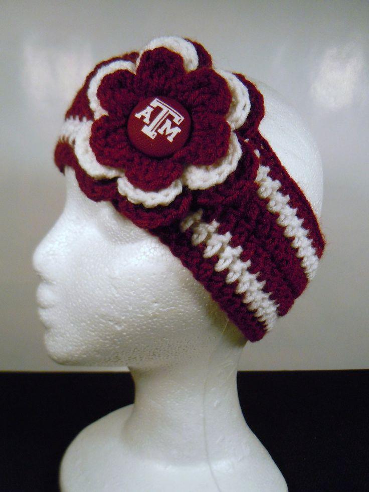 Crocheted Earwarmer Texas A & M Aggies by OliviaRyanbyDGuess