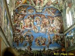 The Last Judgment: Sistine Chapel. This part of the Chapel was not finished by Michelangelo until 1535 CE. Fresco, Vatican City. Italy. Paul III continued work on St. Peters to restore the heart of the city of Rome. Michelangelo abandoned medieval concept of saved neatly separated from the damned. Writhing swarm of resurrected humanity. Dead are dragged from graves toward Christ who wields his arm like a sword of justice. Shrinking virgin = move away from Gothic tradition where she was…
