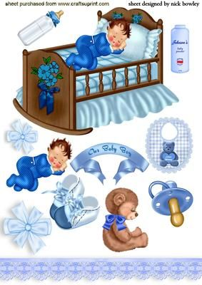 OUR SWEET BABY BOY WITH SCRAPBOOK ELEMENTS on Craftsuprint designed by Nick Bowley - OUR SWEET BABY BOY WITH SCRAPBOOK ELEMENTS, Also can be seen with little baby girl in blue, great for a card or scrapbook - Now available for download!