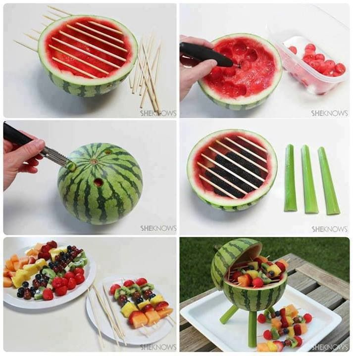Really cute fruit presentation for a summer BBQ - watermelon decorated as a BBQ grill