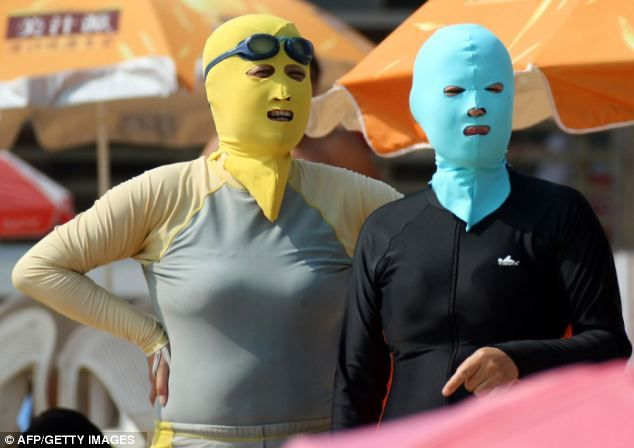 Face-KiniBeach Accessories, Sun Ray, The Face, Face Kini, Sun Protective, Facekini, Body Suits, Head Masks, Summer Trends