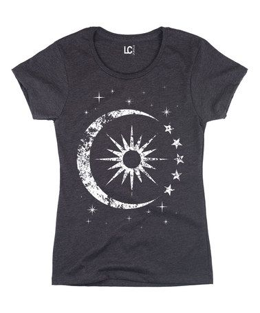 Look at this #zulilyfind! Heather Charcoal Celestial Sun & Moon Tee - Women by Sharp Wit #zulilyfinds