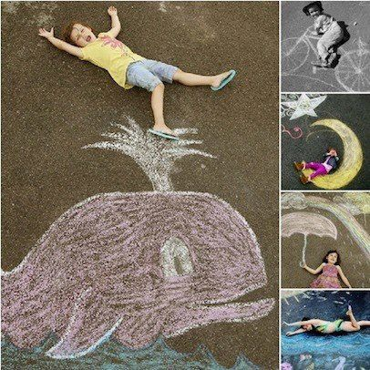 Chalk photography...this is such a cool idea!!!  We could get Bobby to do something....