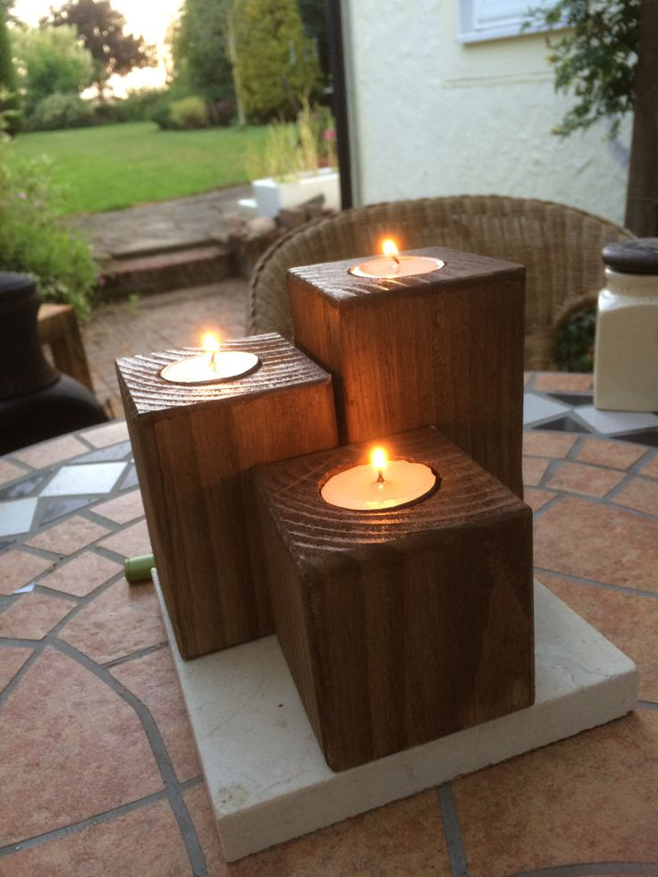 A personal favourite from my Etsy shop https://www.etsy.com/uk/listing/217418729/set-of-3-square-wooden-rustic-tea-light
