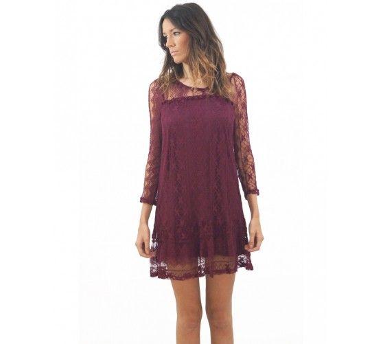Vestido boho encajes y borlas.  Encuéntralo en: www.ties-heels.com  #tiesheels #shop #shoponline #new #newcollection #instamoda #instafashion #instagood #tienda #boho #moda #lace #maroon #dress