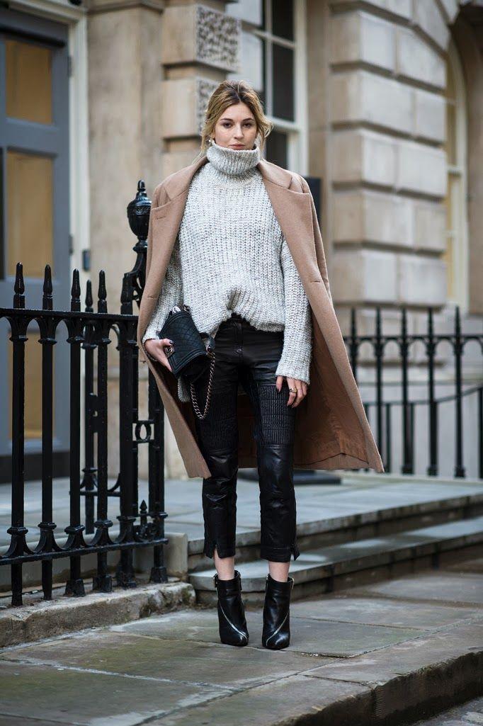 Leather pants: H&M Paris collection || Knit: Zara || Boots: Giuseppe Zanotti || Bag: Chanel || Rings: Tom Wood || Coat: Ganni