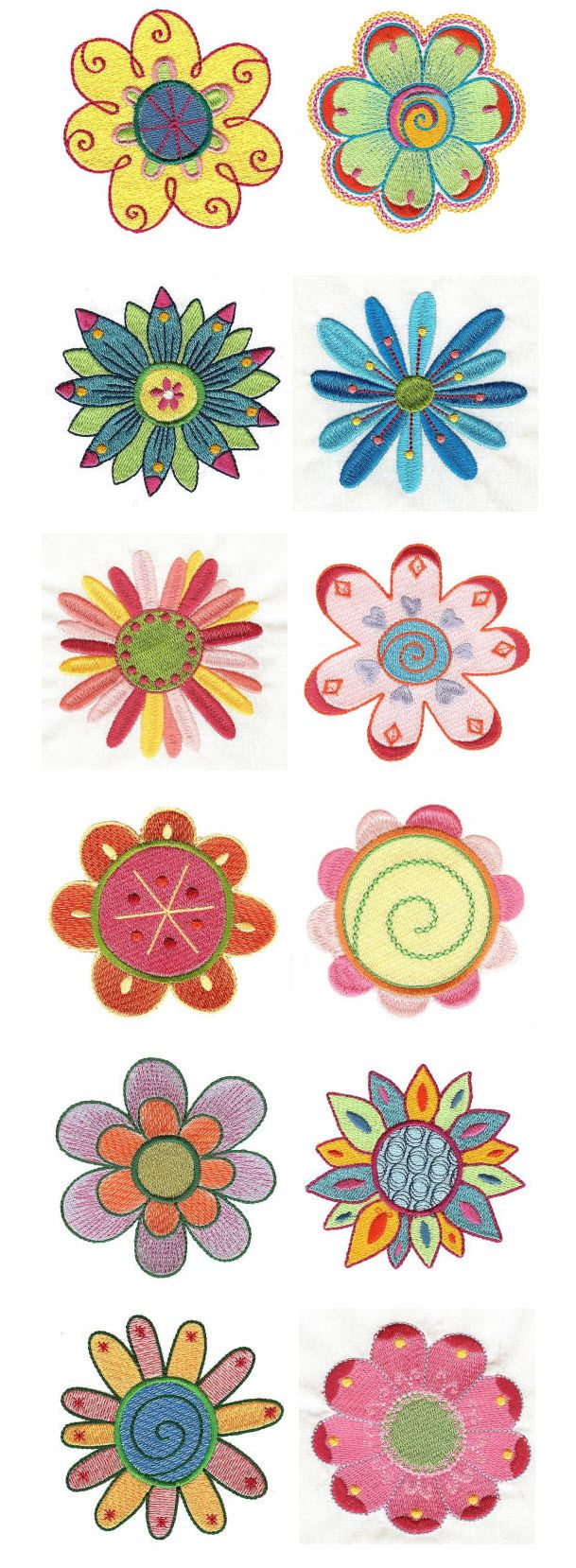 Wonderful Embroidery | Free Machine Embroidery Designs | My Funky Garden Flowers