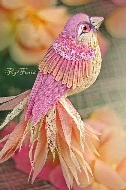 Брошь птица Зарянка. Handmade.