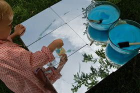 Painting the Clouds - 1 tbsp dish soap, 1/4 cup H2O, 10 drops food coloring, whipped