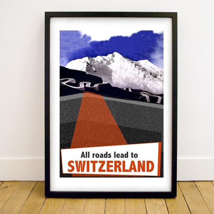 Switzerland Vintage Style Giclée Art Print A3 by thegretest