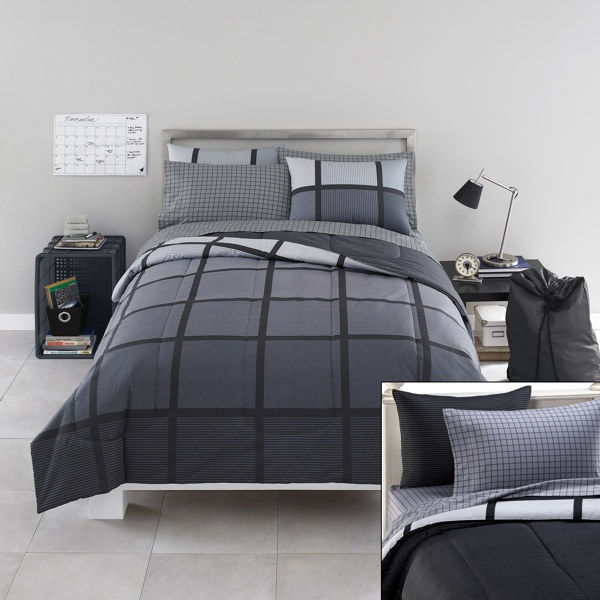 Masculine Bed Linen Color Scheme For Simple Teen Boy: Bedding. The Pattern Is A Bit Harsh And Masculine But I