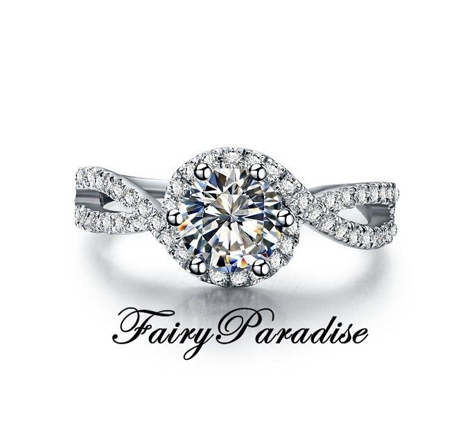 1 Ct (6.5 mm) Swirl Halo Engagement Ring, Round Cut Lab Made Diamond Promise Rings in Twist Crisscross Infinity Pave Band (FairyParadise) by FairyParadise on Etsy https://www.etsy.com/listing/236812406/1-ct-65-mm-swirl-halo-engagement-ring