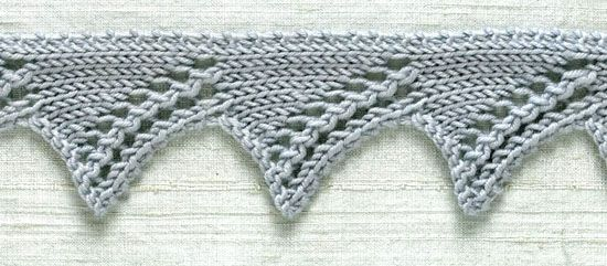 Knit trim: Zigzag - Strongly defined diagonals give this lace its name.