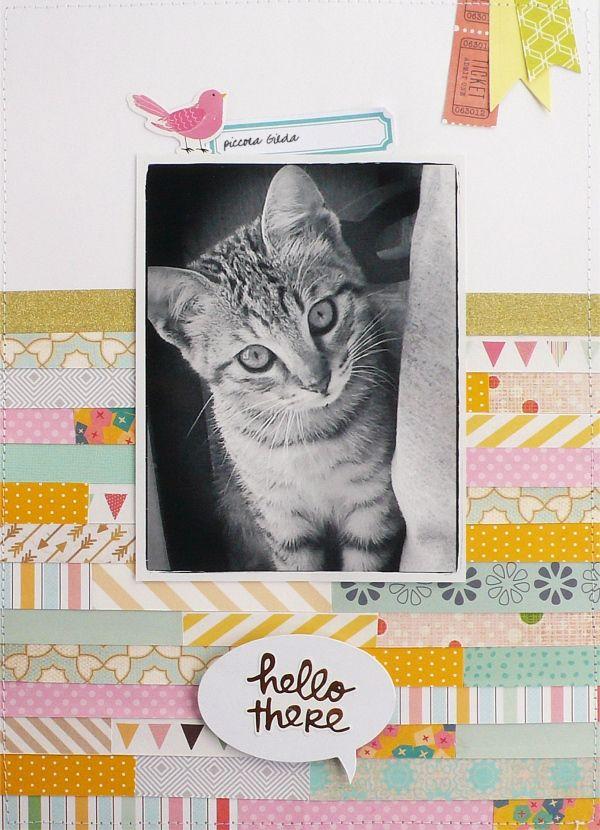 scrapbook layout, scrapbboking, A4, cat, pet