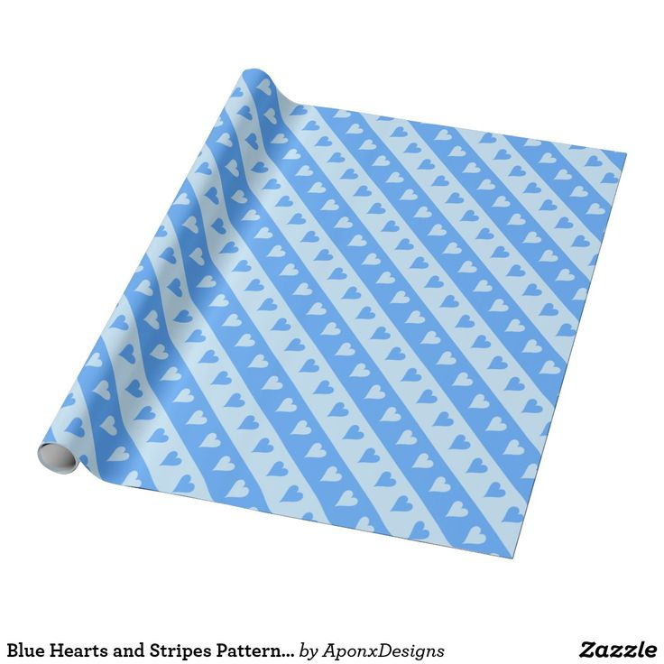 Blue Hearts and Stripes Pattern Wrapping Paper