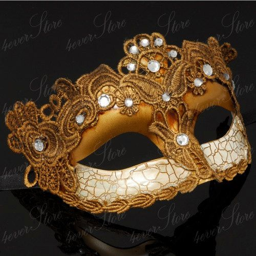 Toga Party Special - Venetian Goddess Masquerade Mask Made of Resin, Paper Mache Technique with High Fashion Macrame Lace & Diamonds [Gold]