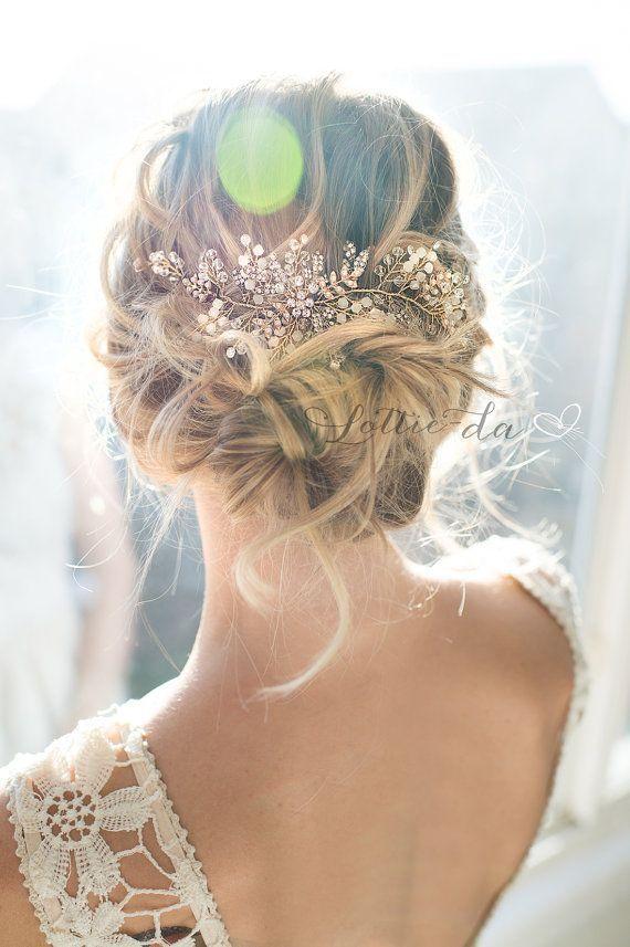 "25 + › Boho vintage style wedding hair accessory, beaded hair vine or headband, ""Zoya"""