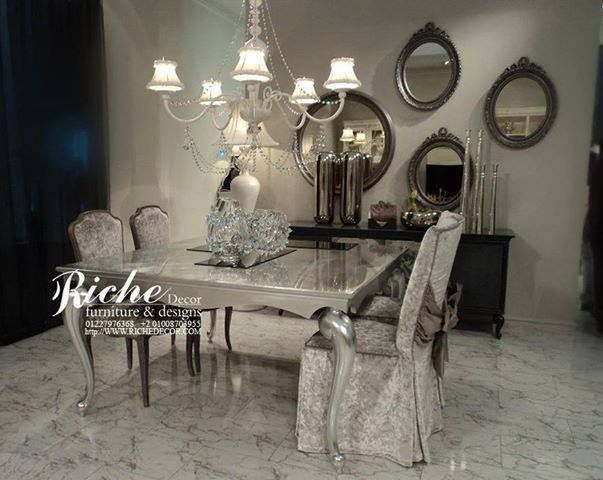 Modern Victorian Dining Room With Mirrors On The Wall