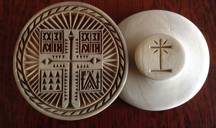 Orthodox Hand Carved Prosfora seal  on wood front and back side