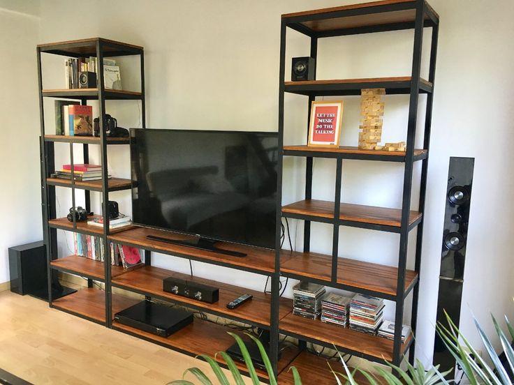 mueble para tv industrial! estantería en hierro y madera ... - Muebles De Herreria Para Tv