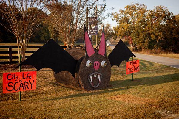 Hay Bale Decorating Bat