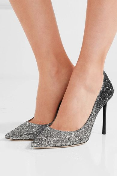 Heel measures approximately 100mm/ 4 inches Black and silver glittered leather Slip on Made in Italy
