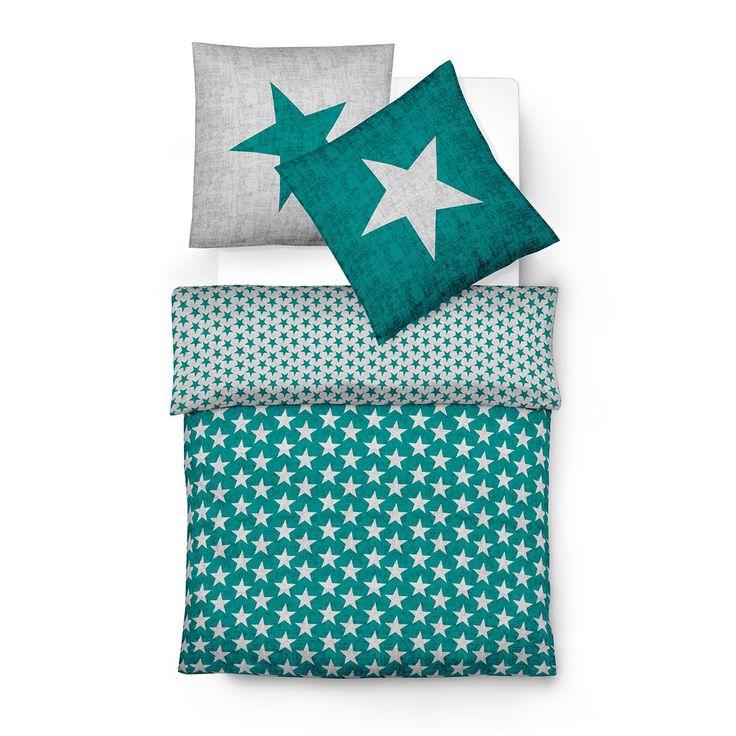 Traumschlaf Biber Bettwäsche Sterne grün online kaufen