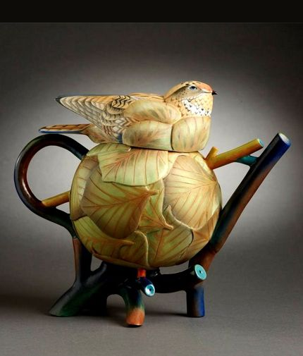 Annette Corcoran---Whippoorwill Nesting teapot