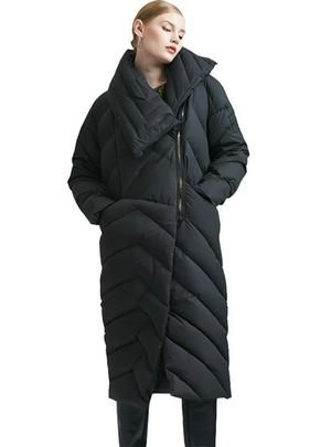Zipper Asymmetric Long Down Jacket Warm Snow Coat