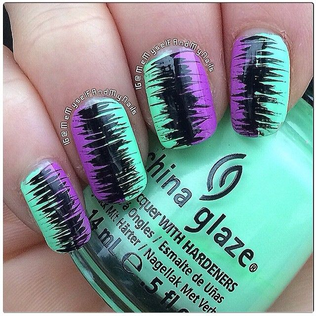 Purple and mint green/turquoise with black abstract design | Instagram photo by memyselfandmynails