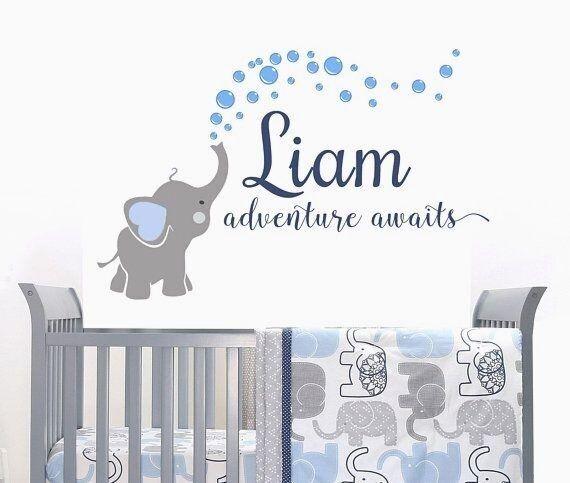 Elefant Aufkleber Name Wandtattoo Abenteuer Erwartet Elefanten Baby Zimmer Dekor Aufkleber Kinderzimmer Jungen In 2020 Kinderzimmer Junge Baby Jungenzimmer Jungszimmer